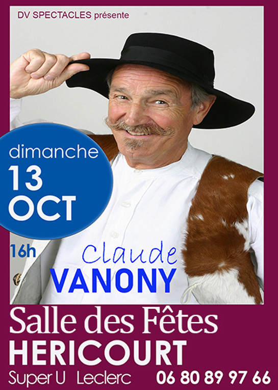 13 Octobre 2019 : Spectacle Claude Vanony